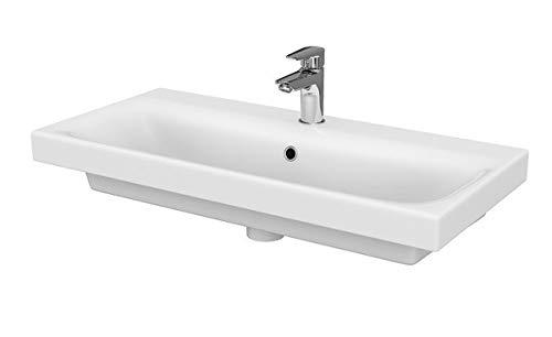 VBChome Moduo- Kollektion Moduo 80cm x 45cm Waschtisch für Unterschrank Einbau Waschbecken mit Überlauf Weiß Keramik Waschtisch Handwaschbecken Design Einbau -Waschschale FÜR BADEZIMMER GÄSTE WC