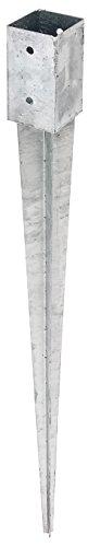 GAH-Alberts 211295 Einschlag-Bodenhülse für Vierkantholzpfosten - feuerverzinkt, 71 x 71 mm / 900 mm
