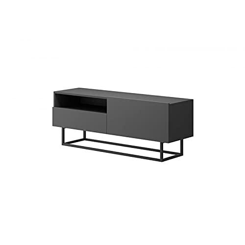 Mueble para televisión industrial Enjoy con almacenamiento, color gris