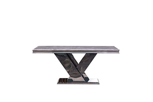 Modernique 120 cm Marble Coffee Table, Gloss Finish Grey Marble Top with Polished Steel Frame