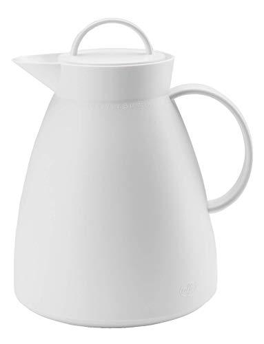 alfi Thermoskanne Dan, Teekanne Kunststoff gefrostet Weiß 1,0l, Isolierkanne mit Glaseinsatz, 0935.012.100, 12 Stunden heiß, 24 Stunden kalt, große Öffnung für Teebeutel oder Teesieb, BPA-Frei
