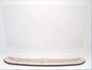 Schutzglas aus Plexiglas mit Füßen aus Holz, Hygiaphon für Zähler mit Öffnung für Dokumente | schützt vor Dellen, Barriere einfach zu montieren | hergestellt in Frankreich, 800 x 670, durchsichtig, 1
