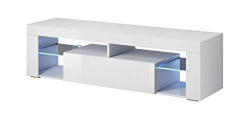 Vivaldi Everest 2 Mueble Comedor para TV Mesa Baja de Estilo Moderno | 50 x 140 x 35 cm | 27 kg | 2 Estanterías de Cristal | con Iluminación LED Salón | Blanco Mate y Blanco Brillo