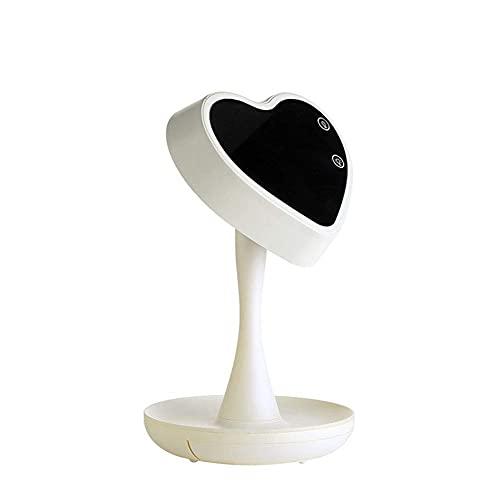 QXXKJDS Lámparas de Mesa Espejo De Maquillaje con Luz LED, Lámpara De Escritorio De Colorida Giratoria En Forma De Corazón Atenuación Táctil Lámpara De Mesilla con Función De Almacenamiento,Blanco