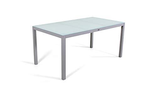 talfa Aluminium Gartenmöbel Esstisch in Seidengrau - Esstisch Milchglas 160 cm