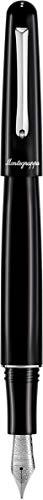 MONTEGRAPPA Collezione ELMO 01 Black Fountain Penna Stilografica - Punta Media. Linea dal Fascino Discreto ma Intramontabile. Praticità e Performance