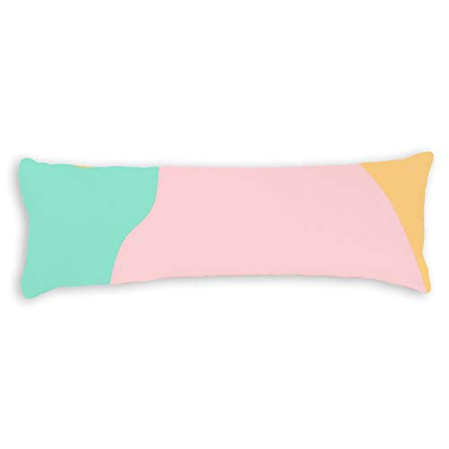 Pastels Camouflage Pink Mint Yellow Pattern Ultra Soft Microfiber Long Body Pillow Cover Pillowcases with Hidden Zipper Closure for Kids Adults Pregnant Women, 20' x 54'