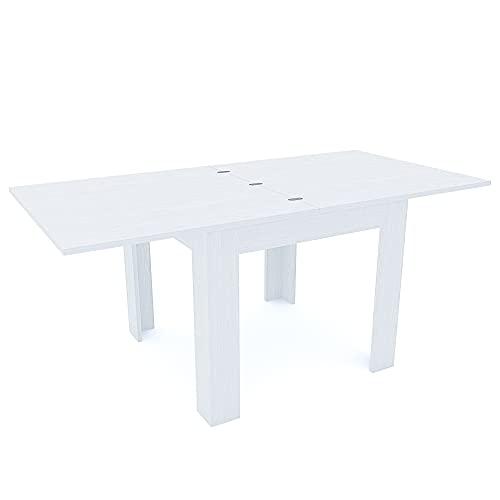 Tavolo Da Pranzo In Legno Allungabile A Libro Fino a 180 cm Ideale Salotto Cucina Soggiorno Tavolino Consolle Salone Design Moderno Elegante Posadas 180 x 90 x 79 cm (Bianco Frassino)