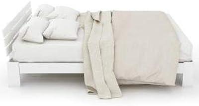 Pumpumly Lit double en bois massif certifié FSC avec tête de lit et sommier à lattes - 200 x 140 cm - Lit double utilisable comme lit en pin avec dossier (blanc)