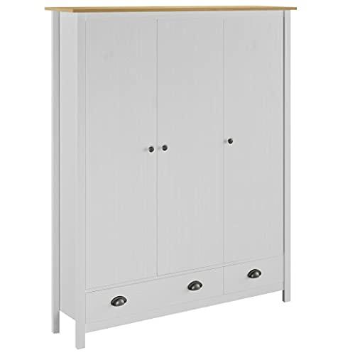 Skåp Garderober 3-dörrars garderob kulle räckvidd vit 127 x 50 x 170 cm massivt furu