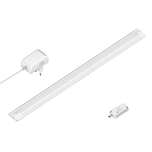 ledscom.de LED Unterbau-Leuchte SIRIS weiß matt mit Netzteil und Bewegungsmelder, flach, 50cm, 420lm, warm-weiß
