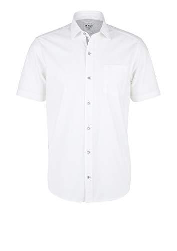 s.Oliver RED Label Herren Regular: Kurzarmhemd mit Webstruktur White L