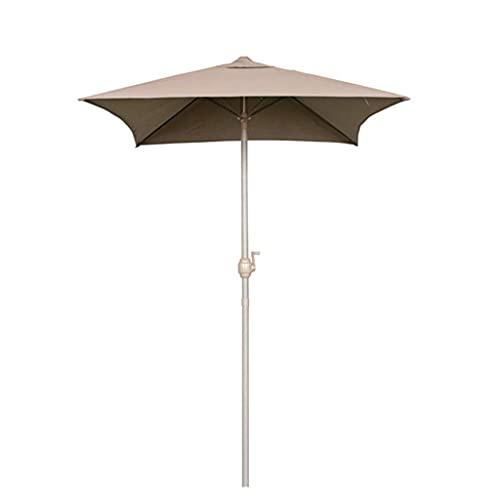 Sombrillas Terraza Paraguas de jardín cuadrado pequeño, paraguas de playa individual de 1.2x1.5m, sombrilla de patio al aire libre, protección UV, lluvia clara, con manivela, barra de hierro y costill