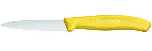 Victorinox Swiss Classic 2er Set Gemüsemesser mit Wellenschliff, 8 cm Klinge, Mittelspitz, Spülmaschinengeeignet, Edelstahl, gelb
