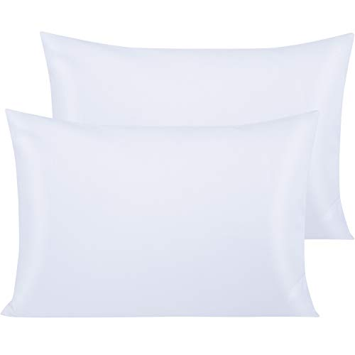 NTBAY Juego de 2 fundas de almohada de algodón egipcio de 500 hilos, 40 x 60 cm, color blanco