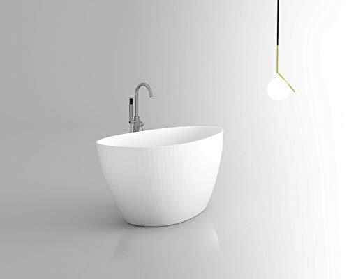 Freistehende Badewanne | Standbadewanne | Gussmarmor/Mineralguss/Solid Stone | CALA | Matt Weiß | 1610 x 710 x 635 mm (Musterstück)