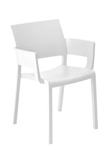 resol Set de 2 sillas con Brazos de diseño Fiona para Interior, Exterior, jardín - Color Blanco