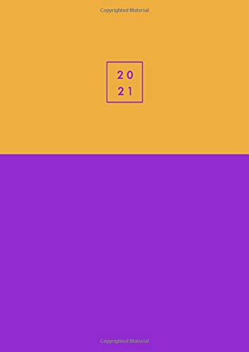 2021: Agenda 2021 giornaliera grande, due pagine per giorno, 21x29,7 cm A4, italiano, colore: viola / giallo