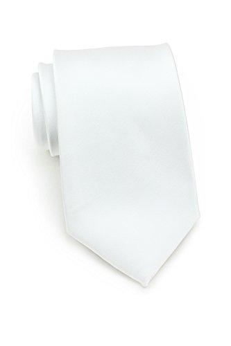 PUCCINI Uni Krawatte, Tie, Binder, Herren-/Hochzeitskrawatten, Schlips, Plastron │ 8.5cm schmal-slim │ einfarbig-unifarbig: Rosa, Apricot, Lachs, Petrol, Türkis, Blau, Dunkelblau, Navy, u.v.w. (Weiß)
