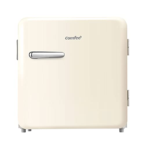 Comfee RCD50BE1RT(E) Mini-Kühlschrank/Retro Kühlschrank / 47L Kühlbox / 50 cm Höhe / 100 kWh/Jahr/Beige