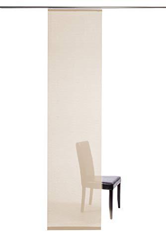 Homing halbtransparenter Flächenvorhang Uni Schiebegardine , Creme, Wohnzimmer Schlafzimmer Kinderzimmer 245 x 60 cm, 5802-17