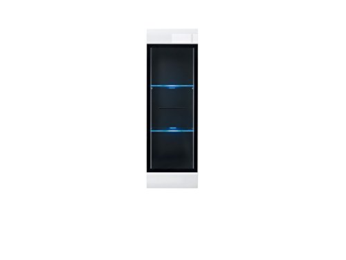 Fever - Wall Mounted Glass Fronted Display Cabinet Tall Unit + LED lights (SFW1W/12/4) - White/White High Gloss