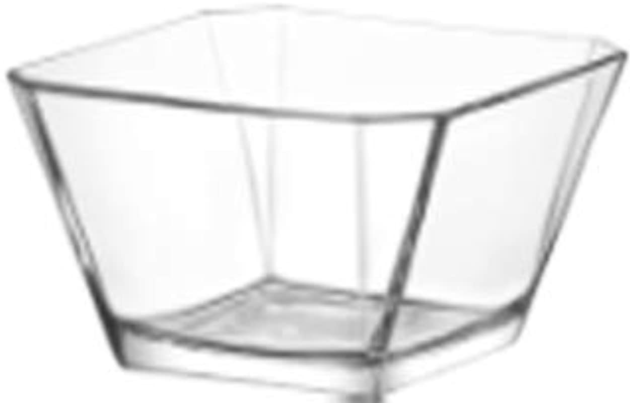 LAV 10 25 Ounce Glass Bowls Beautiful Geometric Squared Shape Made From Thick Durable Glass Great For Dessert Condiments Candies And More Microwave And Dishwasher Safe 6 Piece Set