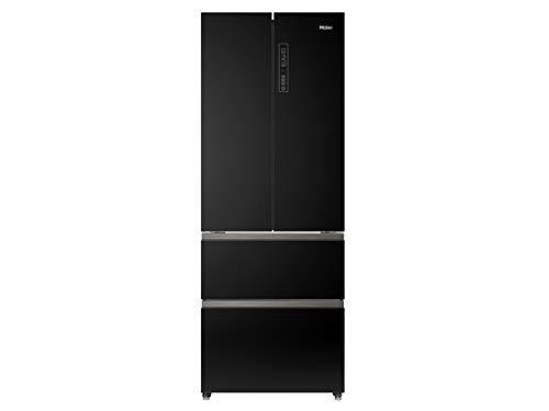 Haier HB16FFGBAAA French Door Kühl-Gefrier-Kombination Schwarz mit Glasdesignfront Kühlschrank