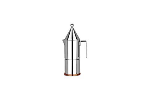 Alessi La Conica 90002/3 Cafetera para Café Exprés de Diseño, Acero Inoxidable y Fondo en Cobre, Plateado, 3 Tazas