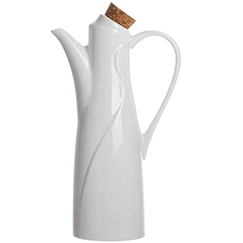 Olie Dispenser Fles, Koken Container Fles Witte Keramische Olijfolie Dispenser Keuken Vloeistof Dispenser 350ml,A