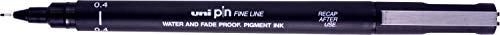 Uni 154624998- Rotulador de punta fina, 0,4mm, resistente al agua y a la decoloración, color negro