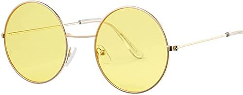 Gafas de sol redondas de color rosa para mujer, gafas de sol femeninas, marco de metal, espejo de color océano (color: 3, tamaño: altura: 52 mm)