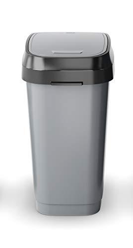 Kiss KIS Abfallbehälter, Kunststoff, Grau, Anthrazit, 26 x 37 x 47,5