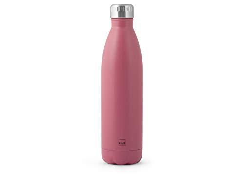H&H Botella térmica de acero inoxidable 18/10 sin BPA, botella de agua reutilizable, para adultos y niños, termo de metal para bebidas calientes o frías con atractivo diseño, 750 ml, Fucsia