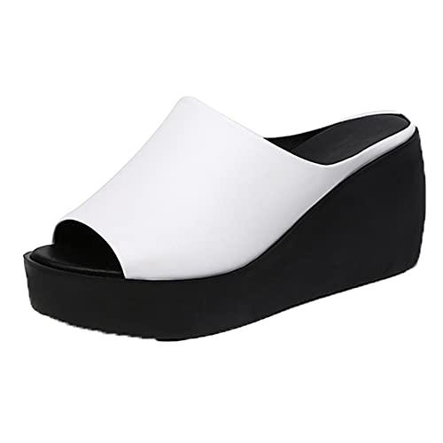 Sandalias de baño para mujer, zapatillas de piscina, plataforma de cuña, tacón alto, verano, punta abierta, ropa de calle, zapatos elegantes para mujer