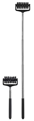 PEARL Körpermassagegerät: 2er-Set ausziehbare Massageroller mit gummierten Griffen, 21-57,5 cm (Rückenmassageroller)