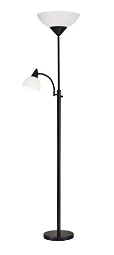 Adesso 7202-01 Piedmont 71' Torchiere with Adjustable Reading Lamp, 2 Lights, Black, Smart Outlet Compatible
