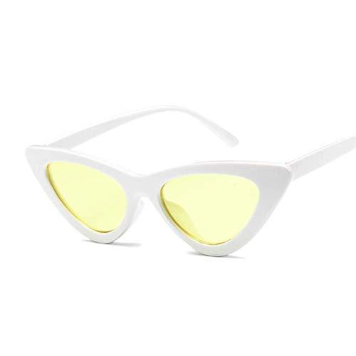 YSJJLRV Lentes de Sol Gato Ojo Mujeres Gafas de Sol Moda Lujo diseñador de la Marca Dama Hembra Espejo Puntos de Sol Gafas para Las Mujeres oculos de Sol Negro (Lenses Color : White Yellow)