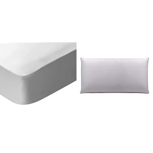 Pikolin Home - Protector De Colchón Lyocell, Híper-Transpirable E Impermeable, Color Blanco + - Funda De Almohada Lyocell, Híper-Transpirable E Impermeable, 40X90Cm