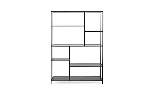 LIFA LIVING Libreria Divisoria da Parete in Legno e Metallo per Interni, Armadio Nero da Esposizione Design con 6 Mensole, Scaffale Libreria Verticale, 125 x 33.2 x 175