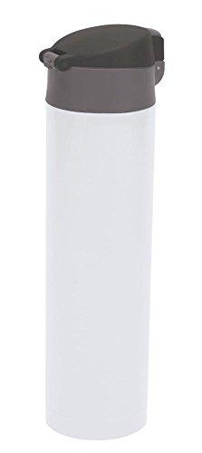 Culinario Thermoflasche mit klick-Deckel, aus Edelstahl/Kunststoff, doppelwandig, trendiges Design, ca. 0,45 Liter, in weiß