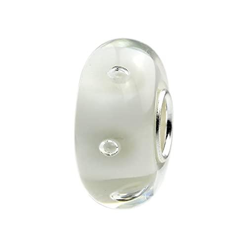 LIJIAN DIY 925 Sterling Silber Farbe 3D Blase Weiß Charm Bead Glas Fitting Halskette Armband Schmuck Geschenk