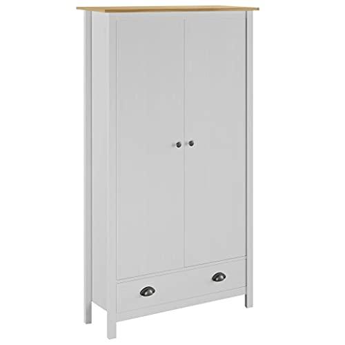 Skåp Garderober 2-dörrars garderob kulle räckvidd vit 89 x 50 x 170 cm massivt furu