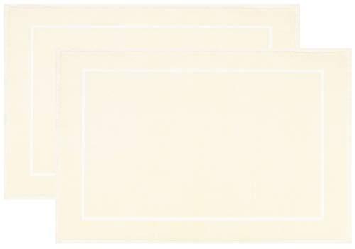 ZOLLNER 2 Alfombrillas de baño, 50x70 cm, Crema, algodón