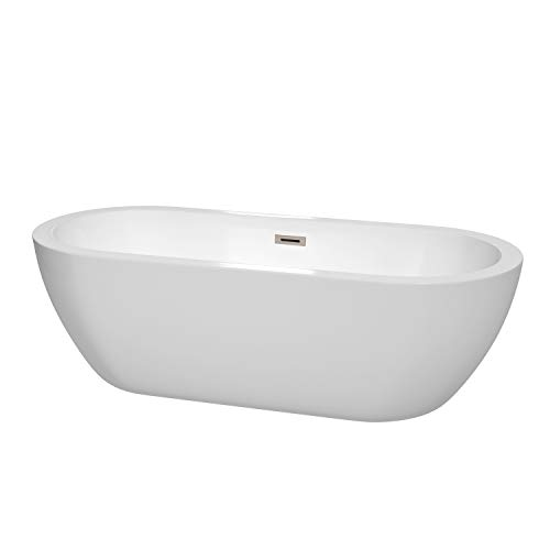Wyndham Collection Soho 72 inch Freestanding Bathtub in White with Brushed Nickel Drain and...