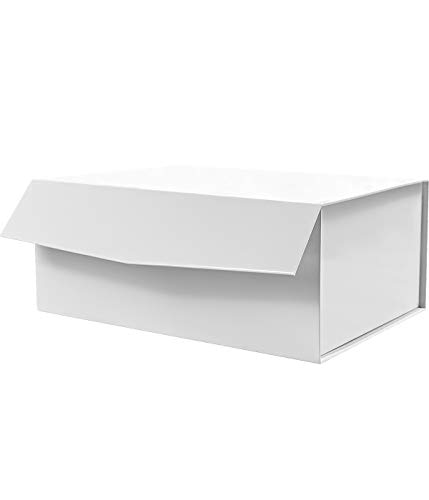 White Gift Box 9.5x7x4Inch,CHERRY Large Gift Box with Lid, Groomsman Box, Sturdy Storage Box, Collapsible Gift Box with Magnetic Closure