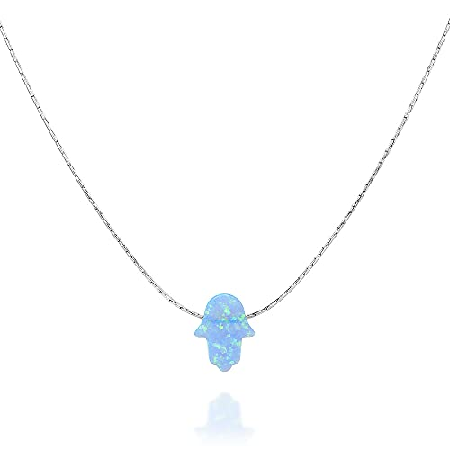 Designer Handmade Opal Hamsa Choker Necklace- Sterling Silver Delicate Collar with Small Blue Hand - 13.5 inch + 3 inch extending chain