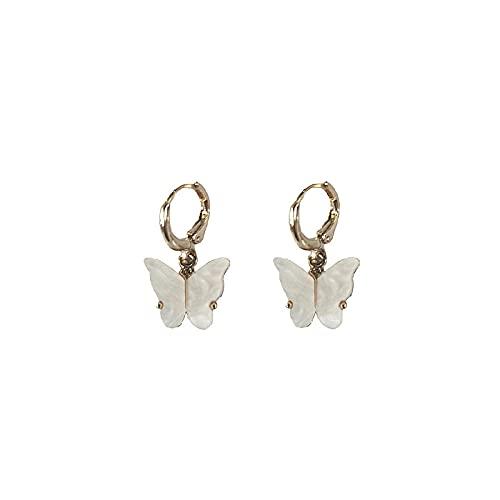Pendientes De Anzuelo Pendientes De Pendientes De Perlas De Piedra Gris Asimétrica Simple-W
