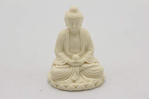 EastMeetsWest Super Mini White Jade Imitation Buddha Shakyamuni on Lotus Bed Statue   Amitabha Buddhism Figurine