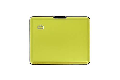 Ögon Smart Wallets -Big Stockholm Cartera Tarjetero - Protección RFID: Protege Tus Tarjetas de Robar - hasta 10 Tarjetas + Recetas + Notas - Aluminio anodizado (Lima Verde)